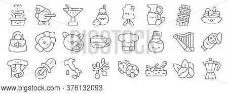Italy Line Icons. Linear Set. Quality Vector Line Set Such As Coffee, Gondola, Olive, Pizza, Harp, O