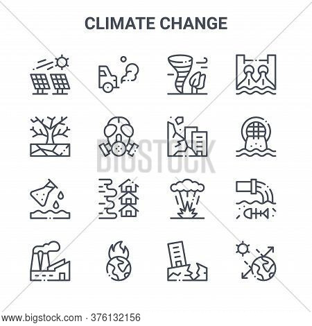 Set Of 16 Climate Change Concept Vector Line Icons. 64x64 Thin Stroke Icons Such As Car, Drought, Ur