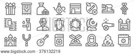 Ramadan Line Icons. Linear Set. Quality Vector Line Set Such As Calendar, Muslim, Quran, Mosque, Can