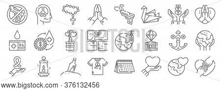Hope Line Icons. Linear Set. Quality Vector Line Set Such As Hands, Love, Peace, Ribbon, Anchor, Spr