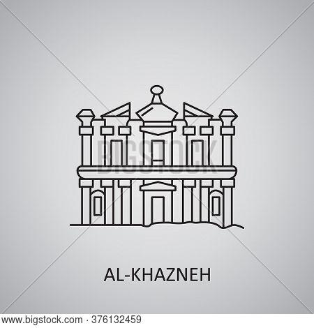 Al-khazneh In Jordan, Petra Icon. Ruins Is Desert