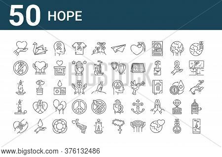 Set Of 50 Hope Icons. Outline Thin Line Icons Such As Candle, Hands, Candlestick Holder, Candle, No
