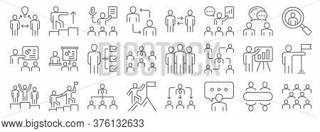 Leadership Line Icons. Linear Set. Quality Vector Line Set Such As Team, Speech, Climbing, Champion,