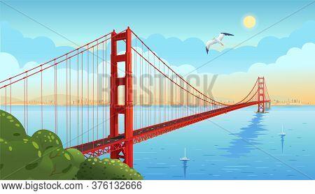 Golden Gate Bridge Across The Strait. San Francisco. Vector Illustration