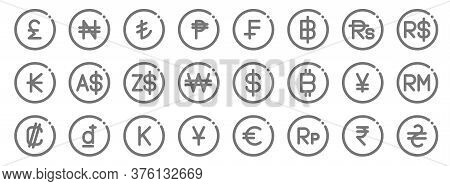 Currency Line Icons. Linear Set. Quality Vector Line Set Such As Hryvnia, Indonesian Rupiah, Japanes