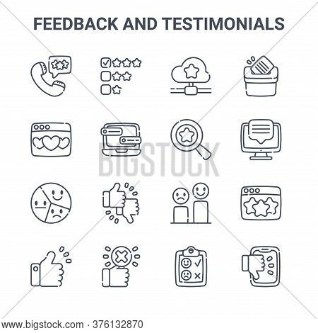 Set Of 16 Feedback And Testimonials Concept Vector Line Icons. 64x64 Thin Stroke Icons Such As Revie