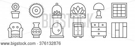 12 Set Of Linear Interiors Icons. Thin Outline Icons Such As Floor, Closet, Vase, Light, Terrarium,