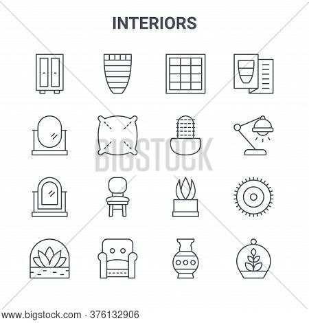 Set Of 16 Interiors Concept Vector Line Icons. 64x64 Thin Stroke Icons Such As Vase, Oval Mirror, De