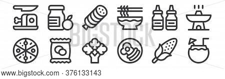 12 Set Of Linear Gastronomy Icons. Thin Outline Icons Such As Coconut, Breakfast, Potato Chips, Sauc