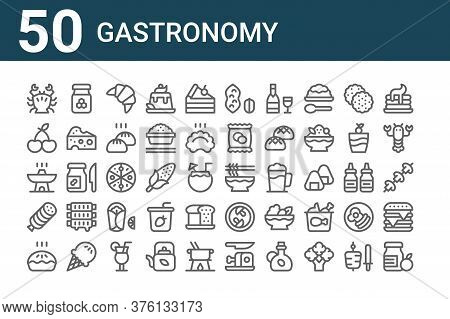 Set Of 50 Gastronomy Icons. Outline Thin Line Icons Such As Jam, Pie, Ham, Hot Pot, Cherry, Honey, N