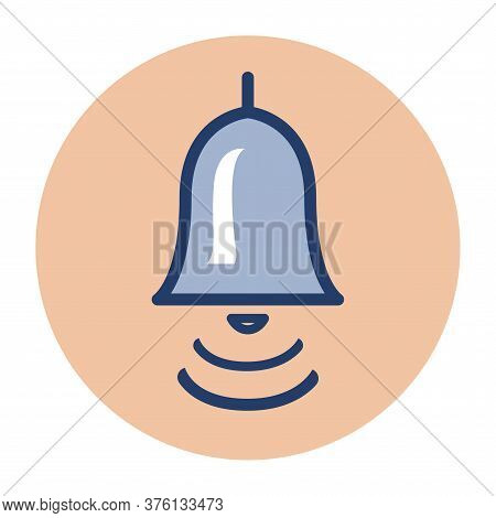 Ringing Classic Bell. Loud Signal Symbol. Vector Color Icon Of A Round Shape.