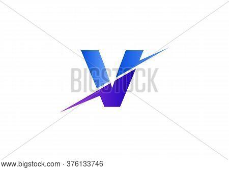 V Letter Logo With Slice Concept Vector. Colorful Slice V Letter Logo Modern, Minimal, Elegant, Bran