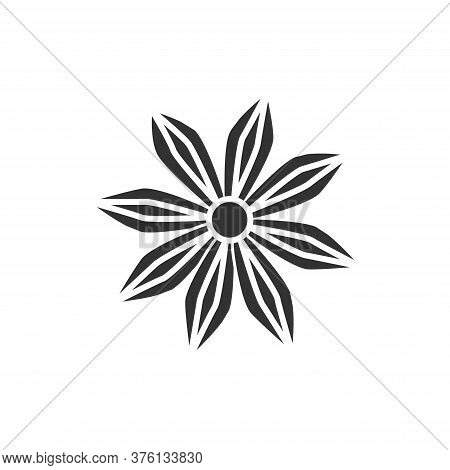 Star Anise Plant With Caption Black Glyph Icon. , Seasoning. Cooking Ingredient. Pictogram For Web P