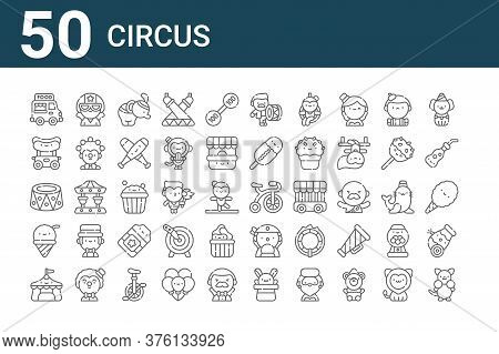 Set Of 50 Circus Icons. Outline Thin Line Icons Such As Kangaroo, Circus Tent, Ice Cream, Platform,