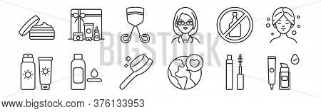 12 Set Of Linear Beauty Cosmetics Icons. Thin Outline Icons Such As Foundation, Save The World, Tone