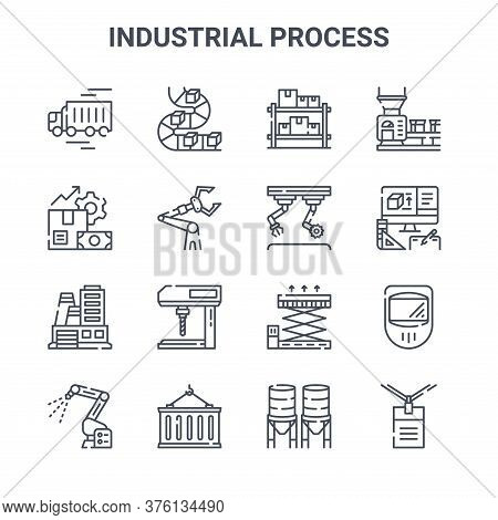 Set Of 16 Industrial Process Concept Vector Line Icons. 64x64 Thin Stroke Icons Such As Conveyor Bel