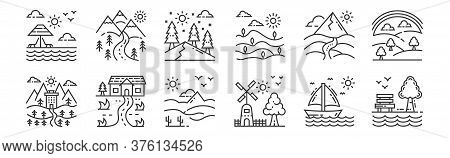 12 Set Of Linear Nature And Landscape Icons. Thin Outline Icons Such As Garden, Mill, Farm House, Mo