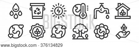 12 Set Of Linear Mother Earth Day Icons. Thin Outline Icons Such As Ecology, Tree, Sustainable, Save