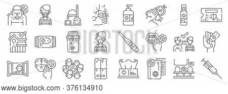 Coronavirus Prevention Line Icons. Linear Set. Quality Vector Line Set Such As Syringe, No Travellin