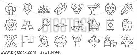 Mexico Line Icons. Linear Set. Quality Vector Line Set Such As Fireworks, Cross, Nachos, Popocatepel