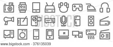 Electronics Line Icons. Linear Set. Quality Vector Line Set Such As Radio, Personal Computer, Mp Pla