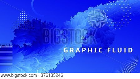 Abstract 3d Background. Blue Fluid Concept. Gradient Wallpaper. Color Music Design. Futuristic Movem