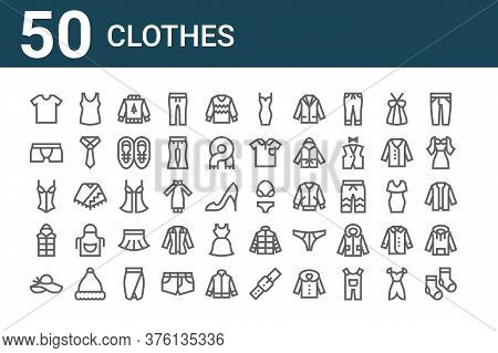 Set Of 50 Clothes Icons. Outline Thin Line Icons Such As Socks, Pamela Hat, Waistcoat, Corset, Under