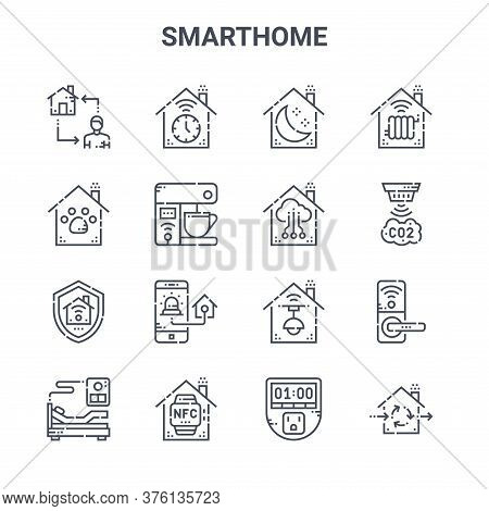 Set Of 16 Smarthome Concept Vector Line Icons. 64x64 Thin Stroke Icons Such As Timer, Pet Care, Sens