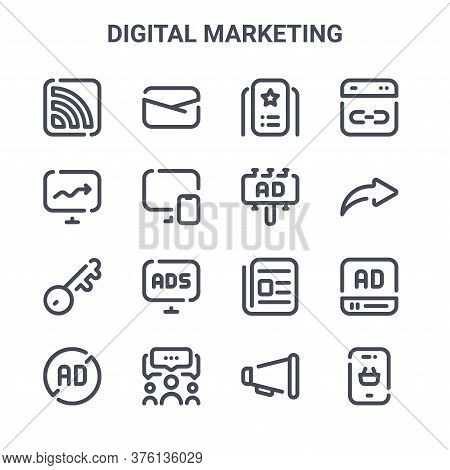 Set Of 16 Digital Marketing Concept Vector Line Icons. 64x64 Thin Stroke Icons Such As Email, Stats,