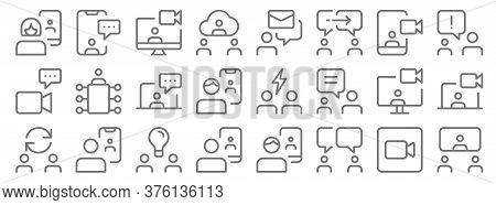 Work Office And Meeting Line Icons. Linear Set. Quality Vector Line Set Such As Meeting, Chatting, V