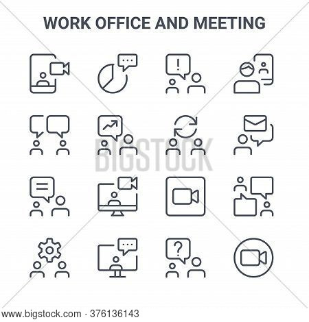 Set Of 16 Work Office And Meeting Concept Vector Line Icons. 64x64 Thin Stroke Icons Such As Chat, C