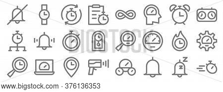Speedometer And Time Line Icons. Linear Set. Quality Vector Line Set Such As Stopwatch, Alarm, Speed