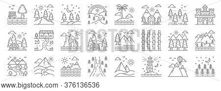 Nature And Landscape Line Icons. Linear Set. Quality Vector Line Set Such As Trees, Lighthouse, Road