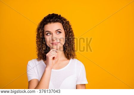 Photo Of Attractive Cute Lady Arm On Chin Thinking Perfect Pretty Curls Hairdo Look Up Side Empty Sp