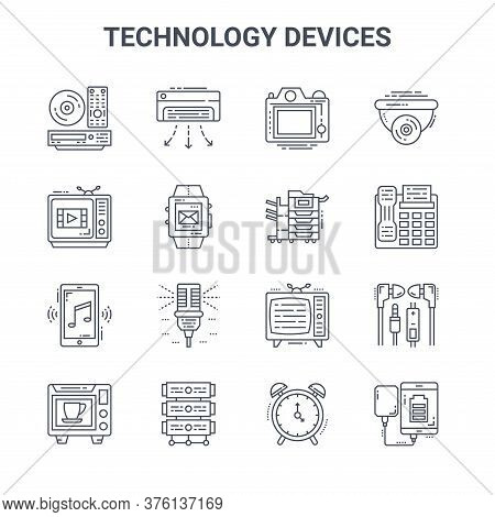 Set Of 16 Technology Devices Concept Vector Line Icons. 64x64 Thin Stroke Icons Such As Air Conditio