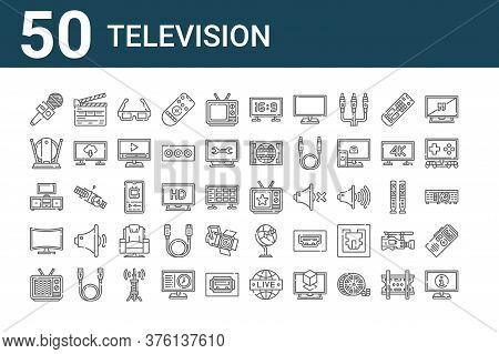 Set Of 50 Television Icons. Outline Thin Line Icons Such As Information, Broken, Curved, Tv Set, Ind