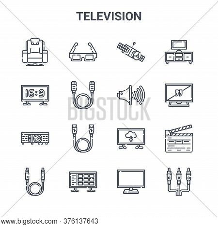Set Of 16 Television Concept Vector Line Icons. 64x64 Thin Stroke Icons Such As D Glasses, Screen Ra
