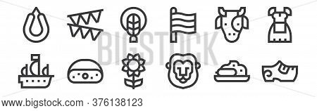 12 Set Of Linear Holland Icons. Thin Outline Icons Such As Clogs, Lion, Cheese, Cow, Braid, Garland
