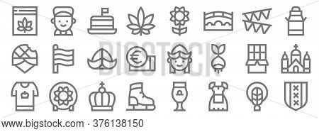Holland Line Icons. Linear Set. Quality Vector Line Set Such As Amsterdam, Costume, Ice Skating Shoe