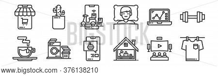 12 Set Of Linear Stay At Home Icons. Thin Outline Icons Such As Laundry, Working At Home, Washing Ma