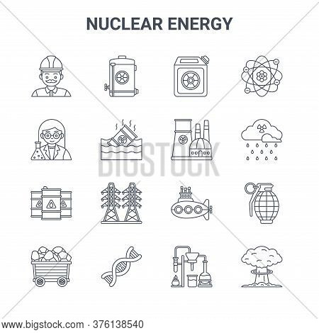 Set Of 16 Nuclear Energy Concept Vector Line Icons. 64x64 Thin Stroke Icons Such As Nuclear Energy,