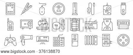 Electronics Line Icons. Linear Set. Quality Vector Line Set Such As Buttons, Heater, Mixer, Game Con