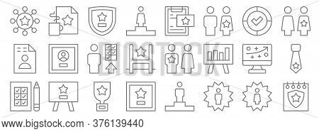 Leadership Line Icons. Linear Set. Quality Vector Line Set Such As Celebration, Employee Of The Year