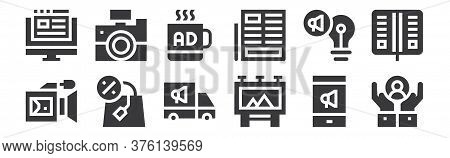 12 Set Of Linear Advertisement Icons. Thin Outline Icons Such As Customer Care, Billboard, Shopping