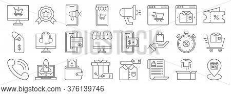 Shopping Ecommerce Line Icons. Linear Set. Quality Vector Line Set Such As Pin, Wish List, Gift, Tel