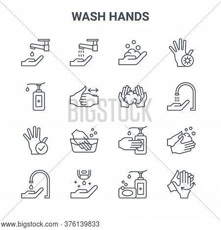 Set Of 16 Wash Hands Concept Vector Line Icons. 64x64 Thin Stroke Icons Such As Hand Washing, Hand S