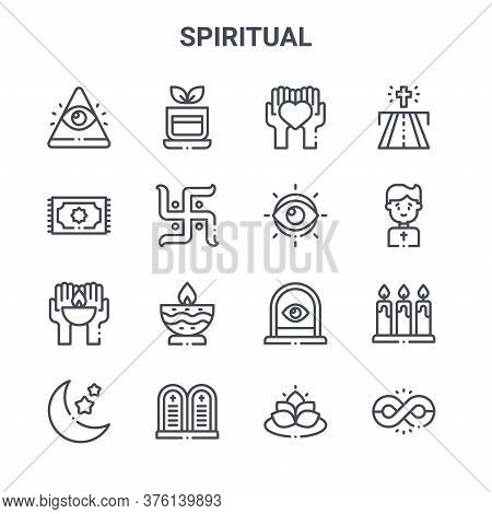Set Of 16 Spiritual Concept Vector Line Icons. 64x64 Thin Stroke Icons Such As Tea, Pray, Priest, Wi