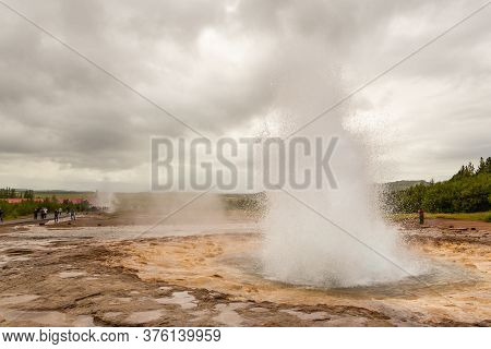 Geothermal Area In The Haukadalur Valley, Strokkur Geyser, Golden Circle, Iceland.