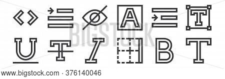 12 Set Of Linear Text Editor Icons. Thin Outline Icons Such As Text, Border, Clear Format, Right Ind
