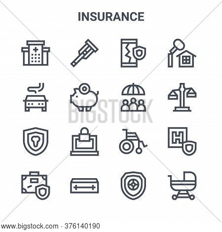Set Of 16 Insurance Concept Vector Line Icons. 64x64 Thin Stroke Icons Such As Crutches, Car Acciden